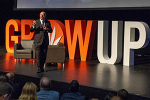 Large Letters display for Grow Up conference featuring Mr. Wonderful